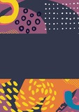 Composition of colourful shapes icons on purple background