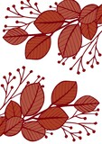 Composition of red leaves icon on white background