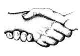 Composition of two black hands holding on white background