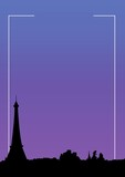 Composition of white frame and cityscape icon on purple background