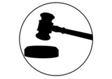 Composition of black gavel and circle icon on white background