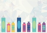 Composition of multiple spray can icons on white background