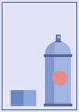 Composition of blue spray can icon on blue background