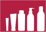 Composition of white cleaning equipment icons on red background