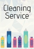 Composition of cleaning services text and cleaning products icons over white background