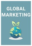 Composition of global marketing text and globe over blue background