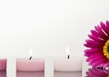 Composition of candles and flowers over white background