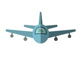 Composition of blue plane icon on white background