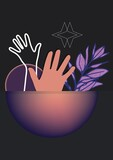 Composition of shapes and hands icon on black background