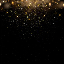 Golden Glitter And Sparkles On Dark Background. Yellow Flakes In Shiny Light Vector Illustration. Bright Dust Sparkling On Black Wallpaper Design. Christmas Or Holiday Card Decoration