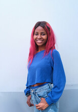 Black Woman With Dyed Hair In Trendy Outfit
