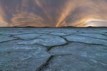 Salty Lagoon Under Sunset Sky In Summer