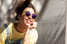 Stylish Happy Young Woman In Sunglasses