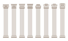 Greek And Roman Architecture Classic Stone Colomns. Outline Vector Illustration. Architecture Column And Pillar
