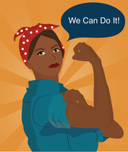 Strong Woman. Woman Power. We Can Do It. Retro Poster.