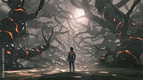 Fotografie, Obraz The man standing in a road full of evil trees, digital art style, illustration p