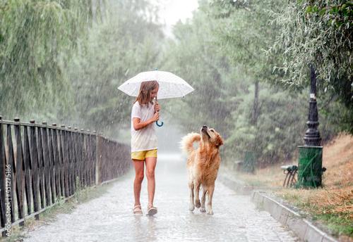 Fotografia Girl with golden retriever dog in rainy day