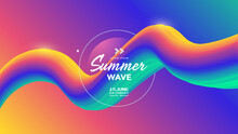 Electronic Music Fest Summer Wave Poster. Abstract Gradients Waves Music Background. Gradient Wavy Form Composition For Flyer.