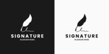 Feather Signature Pen Logo Design Template
