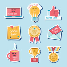 Great Job Stickers Pack Vector Illustration.