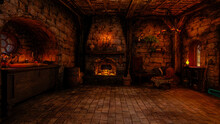 3D Rendering Of A Fantasy Witch's Cottage Interior Lit By Candles With Fire Burning Under A Cauldron In A Fireplace.