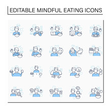Mindful Eating Line Icons Set. Conscious, Intuitive Nutrition. Eating Habits. Hunger Signals. Mealtimes Concept. Isolated Vector Illustration.Editable Stroke