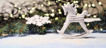 Christmas Horse Tree Decoration On Light Background