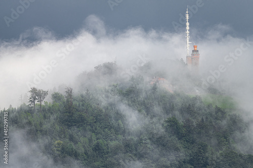 Carta da parati Merkur Mountain with Tower in the Clouds, Baden-Baden, Germany