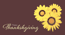 Happy Thanksgiving Card With Yellow Gazania Flowers