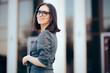Businesswoman Wearing Eyeglasses in Outdoor Portrait