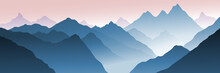 Mountain Landscape, Morning View, Fog In The Gorge. Vector Illustration, Banner.