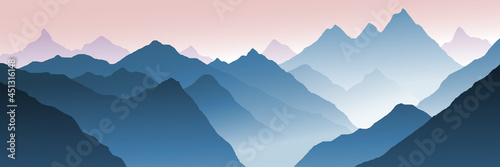 Obraz na plátně Mountain landscape, morning view, fog in the gorge