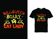 Halloween Scary Cat Lady T Shirt Templet.