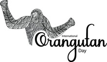 International Orangutan Day. Banner And Poster Design For Social Media And Print Media. Line Art And Coloring Page Concept.