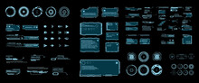Futuristic Set Of HUD Elements, GUI  HUD User Interface. Callouts, Headers, Frames, Arrows, Pointers, Circles, Targets, Information And Dialog Boxes. Elements Game Design In The HUD  Style