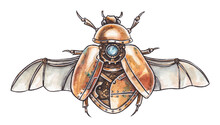 Watercolor Illustration Of A Steampunk Scarab. Mechanical Scarab Beetle On White Background