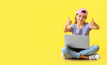 Little Programmer With Laptop Showing Thumbs-up On Color Background