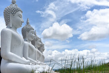 New Attraction. Buddha Statues On The Mountain At Phu Phra Ban Mak Khaeng, Dan Sai, Loei, Thailand.