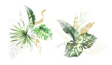 Watercolor Summer Invitations Bouquets With Hand Painted Tropical Dried Palm Leaves, Branches Of Green, Gold Leaves. Romantic Floral Bouquet Perfect For Wedding Greeting Cards, Invitation And More