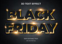 Black Friday 3d Editable Text Effect Premium Vector
