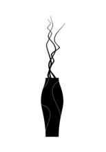 Black Vase With Decorative Branches. Fashion Accessory For Interior Design.