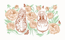 Little Sleeping Rabbits In A Peony Garden Among Tender Buds In The Grass