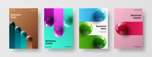 Original Realistic Balls Placard Layout Set. Amazing Brochure A4 Vector Design Illustration Collection.