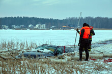 January 21, 2021, Baltezers, Latvia: The Work Of The Rescue Service To Retrieve The Car From The Water. The Car Broke Into The Ice