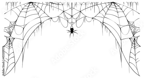 Photo Scary spider web and poisonous spider top frame on white background symbol of ha