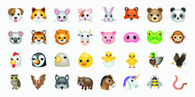 Set Of Animal Faces, Face Emojis, Stickers, Emoticons.