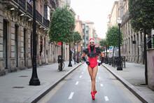 Drag Queen Walking On Urban Street