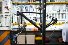Bicycle Frame On Rack In Garage