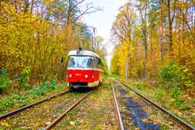 The Old Red Tram In Kiev, Ukraine