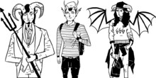 Set Of Fashion Demons In Tattoo Sketch Style